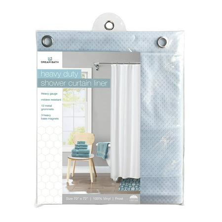 Alsons White Handheld Shower - Dream Bath 6 Gauge PVC Anti-Bacterial Mildew Resistant Shower Liner, 72x72 inch, Frost