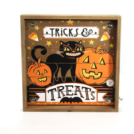 Halloween LIT TRICKS & TREATS WALL ART Wood Indoor Use Only - Halloween Art History