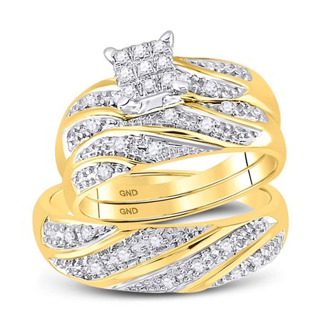 Gold Wedding Band Set - 10kt Yellow Gold His & Hers Round Diamond Cluster Matching Bridal Wedding Ring Band Set 1/3 Cttw
