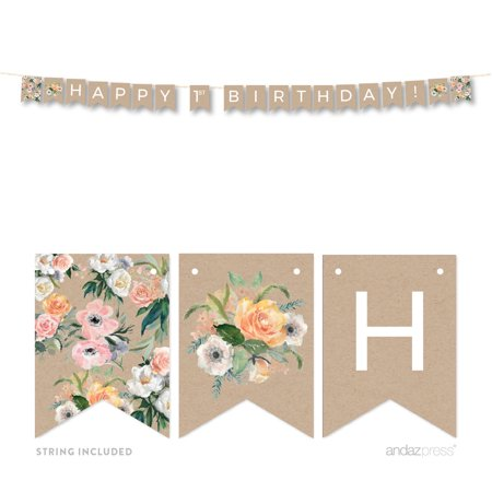 Peach Rustic Floral Garden Party, Happy 1st Birthday 5 Feet Hanging Pennant Party Banner with String (Happy 1st Birthday Banner)