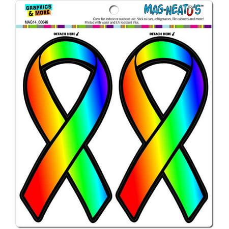 Rainbow Awareness Ribbon Gay Lesbian LGBT Pride Automotive Car Refrigerator Locker Vinyl Magnet (Rainbow Refrigerator)