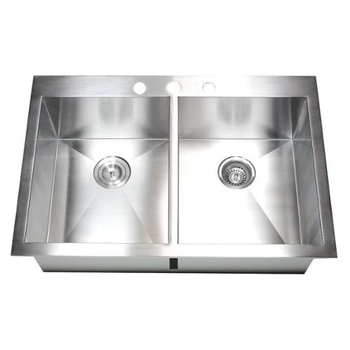 Contempo Living Inc 33 Inch 16 Gauge Stainless Steel Double Bowl Topmount  Drop In