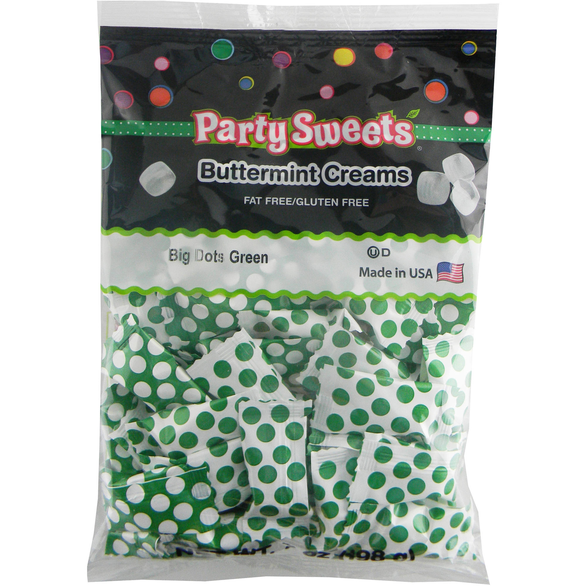 Party Sweets Big Dots Green Buttermint Creams Candy, 7 oz