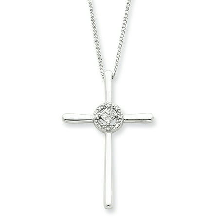 925 Sterling Silver Diamond Eternal Life Cross Religious Chain Necklace Pendant Charm Fine Jewelry Ideal Gifts For Women Gift Set From (Eternal Rest Heart)