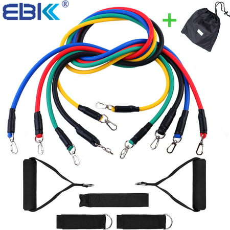 EBK Durable Resistance Band Set - 5 Stackable Exercise Bands - Free Waterproof Carrying Case comes with Door Anchor Attachment and Legs Ankle Straps - Anti Snap -