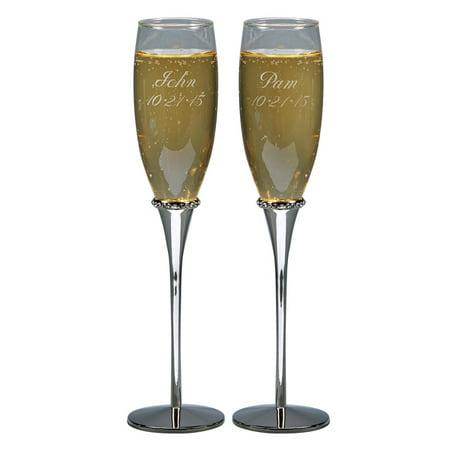Personalized Glass Wedding Toasting Flutes W/