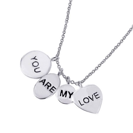 (Exquisite Sterling Silver Rhodium Plated 4 Engravable Disc You Are My Love Necklace -)