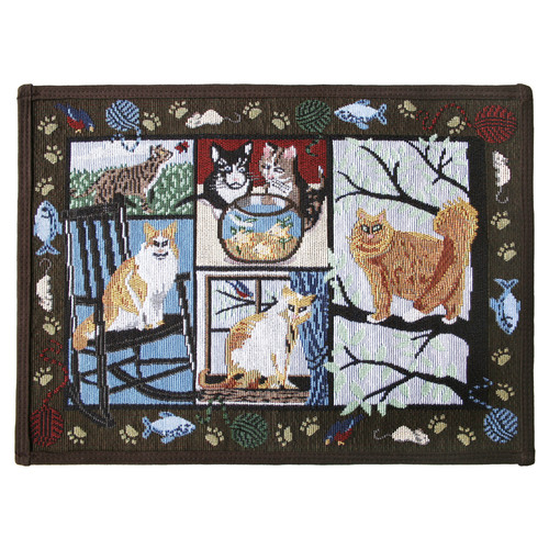 Park B Smith Ltd PB Paws & Co. Woodland Cat Days Tapestry Indoor/Outdoor Area Rug