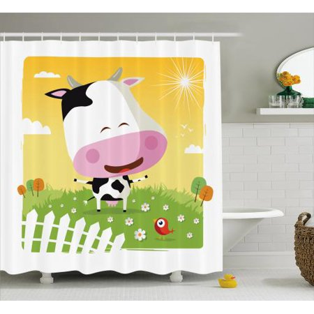 Cattle Shower Curtain Happy Cartoon Cow Figure At The Ranch Smiling In A Sunny Day