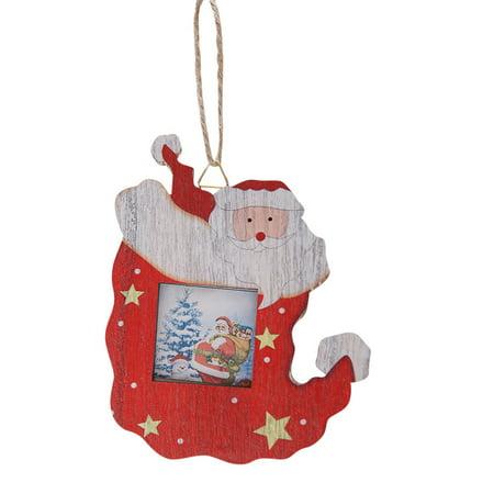 Christmas Photo Frame Pendants Tree Wooden Ornaments Holiday Hanging Decor Gift Pendant Tree Frame