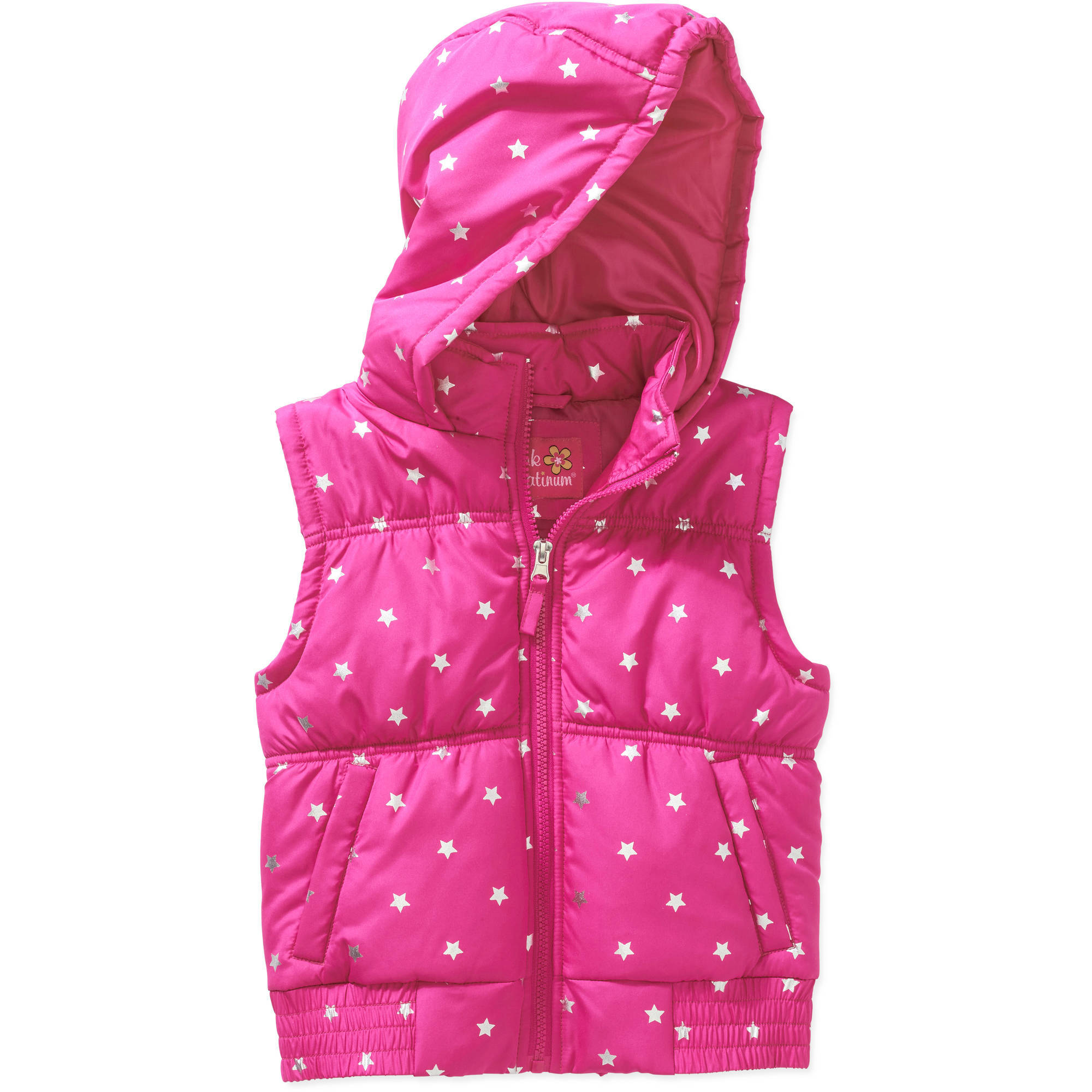 Girls' Foil Star Hooded Vest with Pockets
