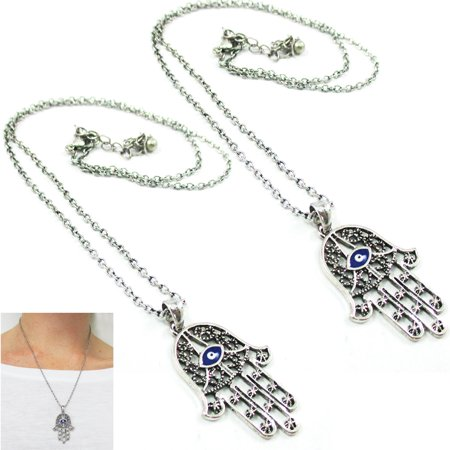 - 2 Pc Hamsa Hand Necklace Lucky Evil Eye Pendant Chain Necklace Kabbalah Fatima