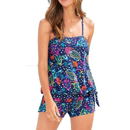Women Tankini Sets with Boy Shorts Padded Swimwear Two Piece Swimsuits