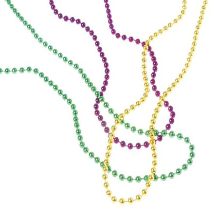 OD440 Bulk Mardi Gras 4mm Bead Necklaces