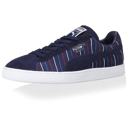 Puma Suede Striped Sneaker Mens Navy/White Sneakers
