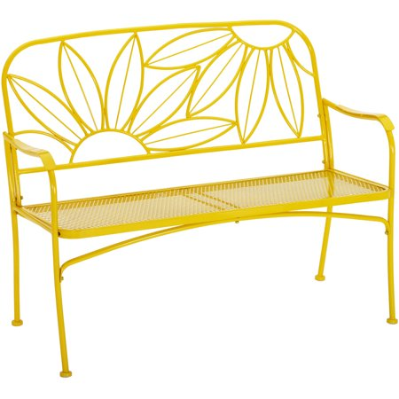 Mainstays Hello Sunny Outdoor Patio Bench  Yellow