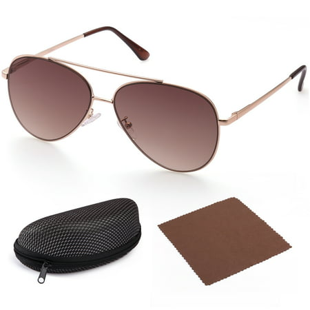 Aviator Sunglasses for Women, Flat Brown Gradient 58mm Shatterproof Lens, Gold Metal Frame, UV400 Protection,Case Included,Spring Loaded (Gradient Mirror Sunglasses)