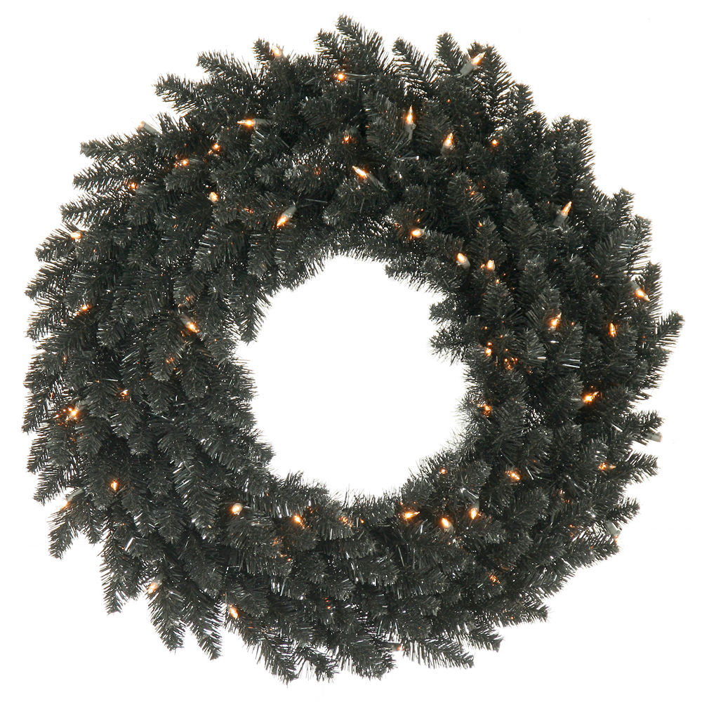 "48"" Black Fir Artificial Wreath - 480 PVC Tips and 150 Clear Dura-Lit lights"