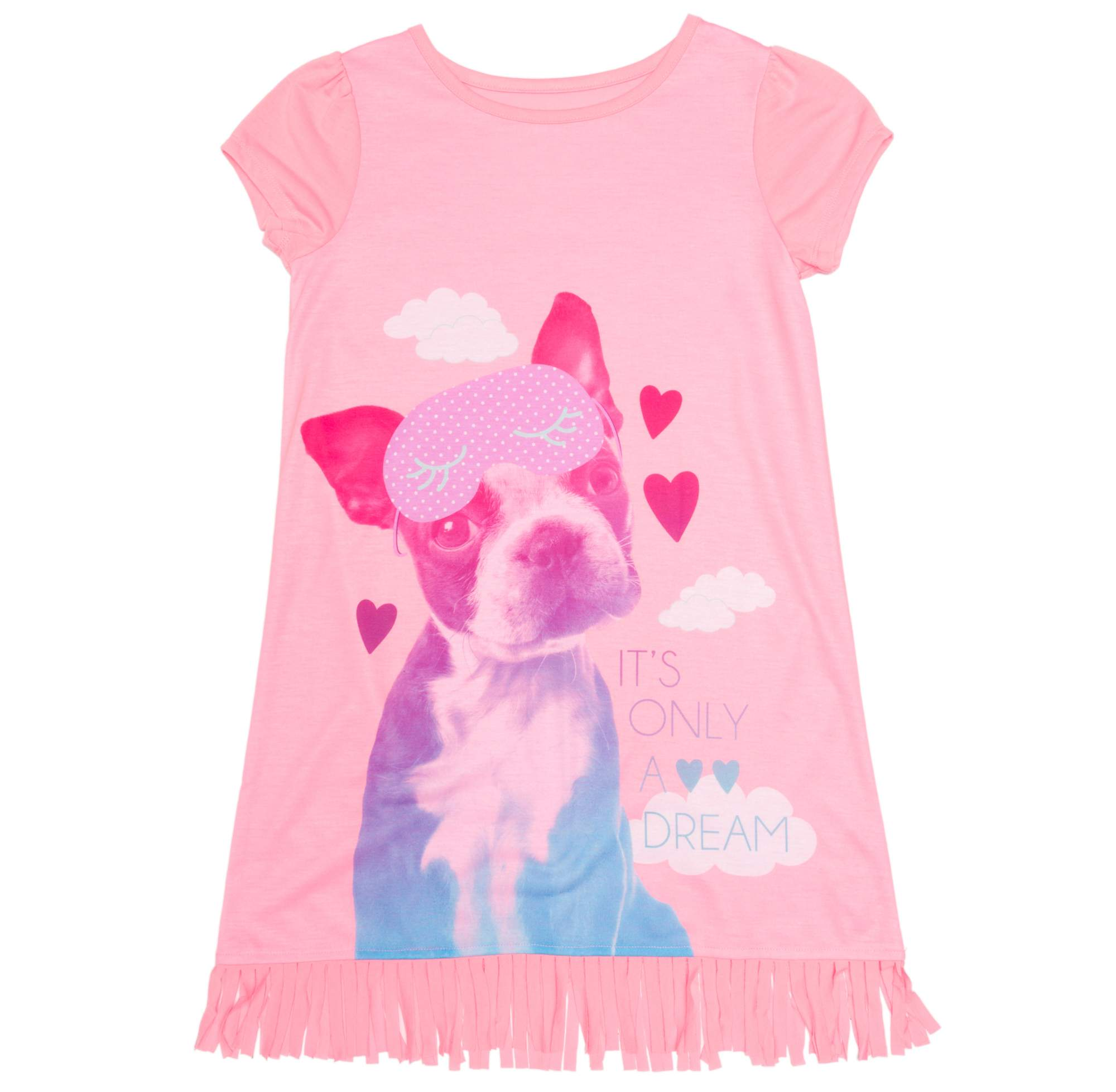Image of Girl's 'It's Only a Dream' Graphic Sleep Shirt with Fringe