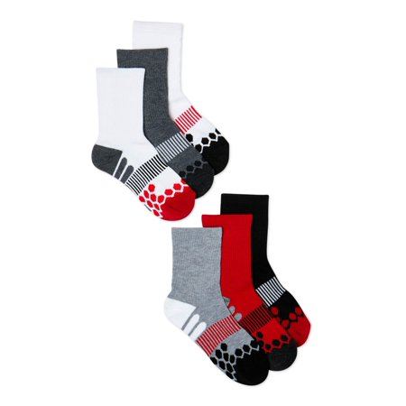 Athletic Works Boys Crew Socks, 6 Pack