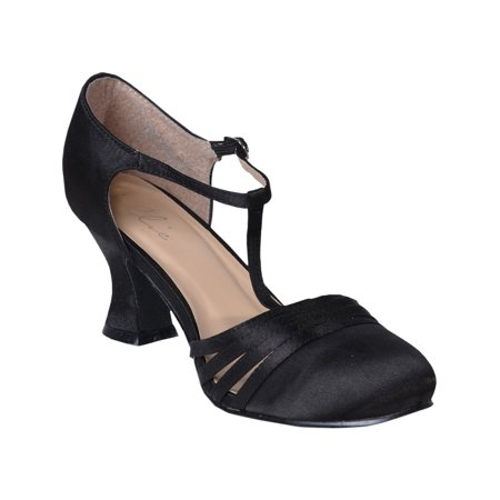 Women's Sexy Black Shoes 2.5 Inch Heel Satin Dance Shoe Flapper Costume 1920s - Ladies Shoes 1920s