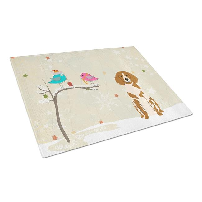 Carolines Treasures BB2544LCB Christmas Presents Between Friends Brittany Spaniel Glass Cutting Board, Large - image 1 of 1