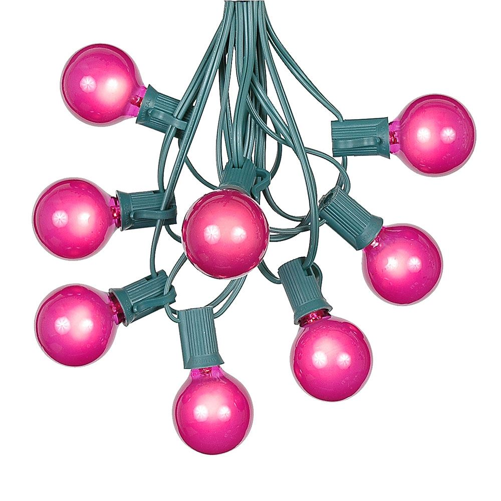 G40 Patio String Lights With 125 Pink Globe Bulbs Hanging Garden String Lights Vintage Backyard Patio Lights... by Novelty Lights