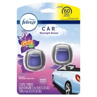 Febreze Car Odor-Eliminating Air Freshener Vent Clip, Gain Moonlight Breeze, 2 Ct