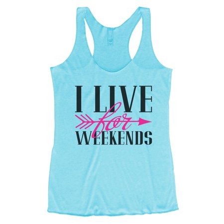 """Women's Triblend Tank Top """"I Live For Weekends"""" Party Tank Top -Funny Threadz Small, Blue"""