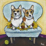 """Marmont Hill """"Corgi's In Chai"""" by Tori Campisi Painting Print on Canvas"""