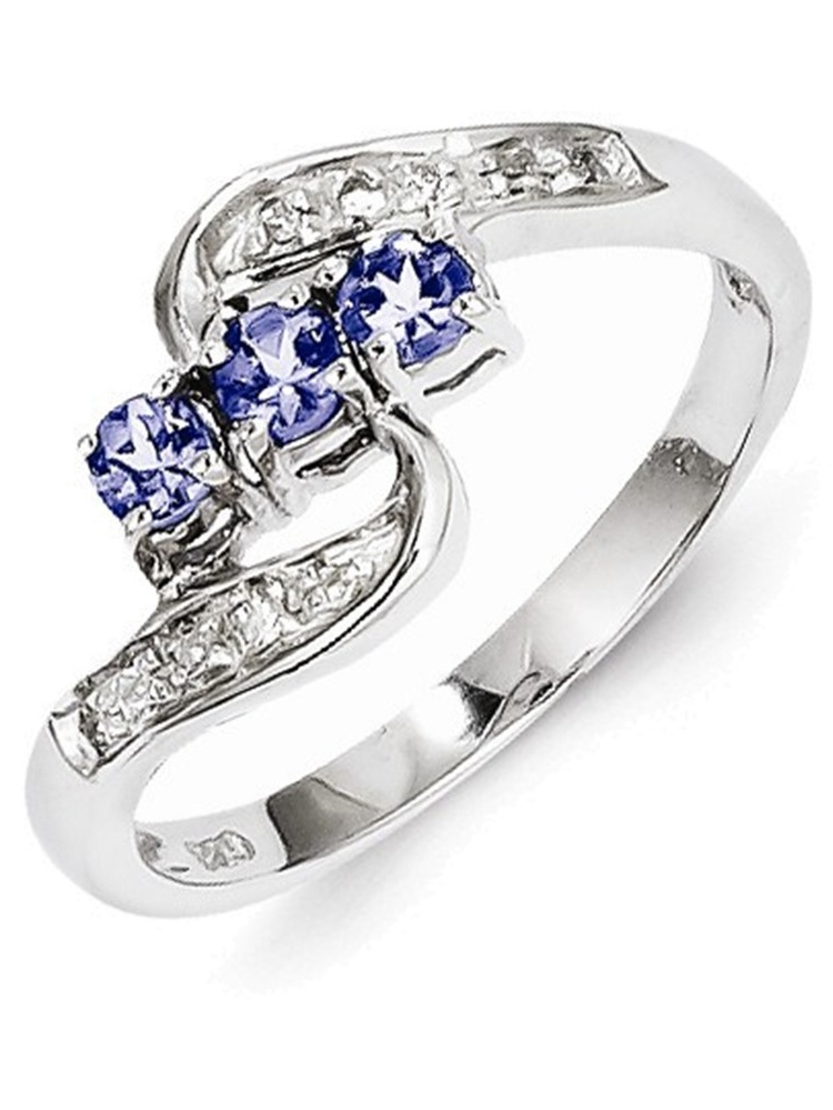 Sterling Silver Tanzanite & Diamond Ring Size 8 by
