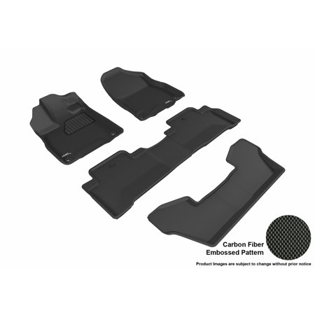 3D MAXpider 2017-2018 Acura MDX Front, Second, &Third Row Set All Weather Floor Liners in Black with Carbon Fiber Look (R50 Floor)