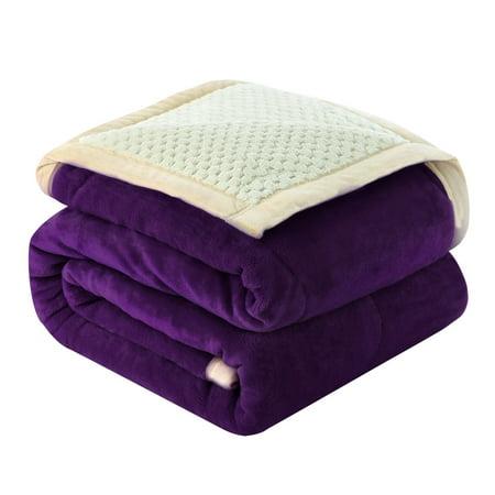 "Reversible 3 Layers Wave Line Thick Fleece Blanket Twin 59""x78"", Dark Purple - image 1 of 1"