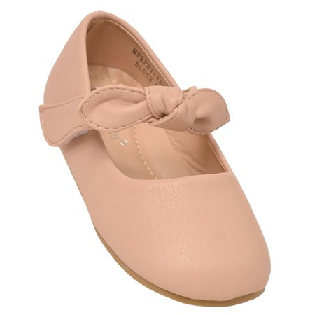 Anne Marie Girls Blush Tie Accent Hook-And-Loop Mary Jane Shoes 4 Baby