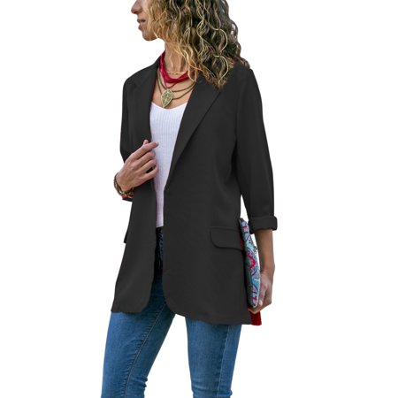 Fashion Womens Plain Lapel Blazer Suit Slim Fit Coat Jacket Ladies OL Office Outwear Tops Outwear