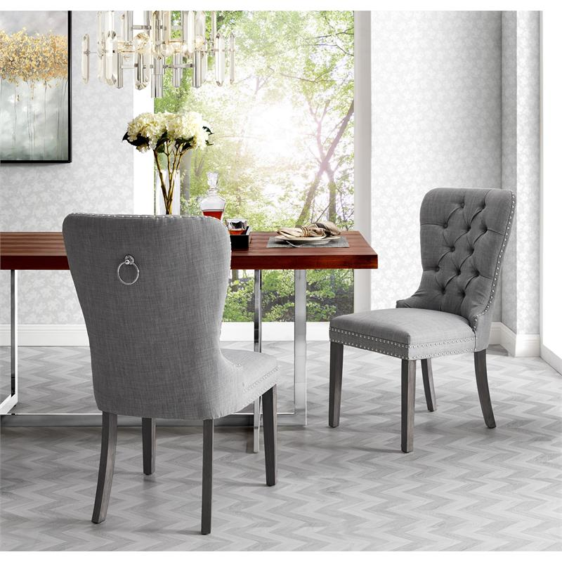 Posh Arthur Linen Fabric Dining Chair, White Linen Dining Room Chairs
