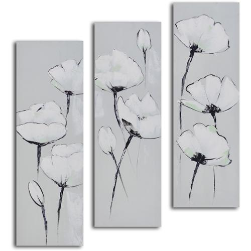 OMAX 'White on white poppies' 3-piece Hand Painted Canvas Art