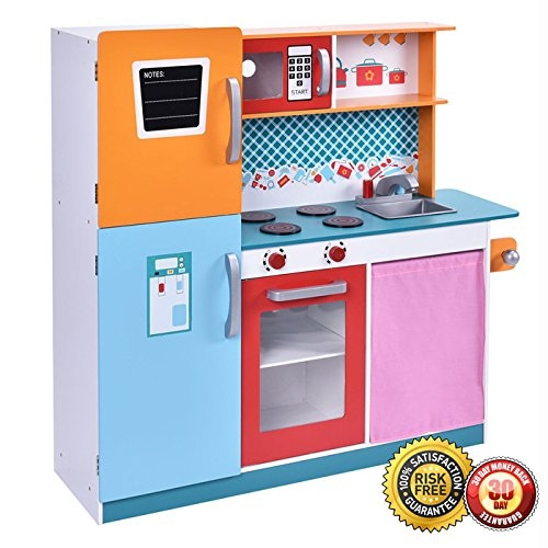 New Wood Kitchen Toy Kids Cooking Pretend Play Set Toddler Wooden Playset Gift by MTN Gearsmith