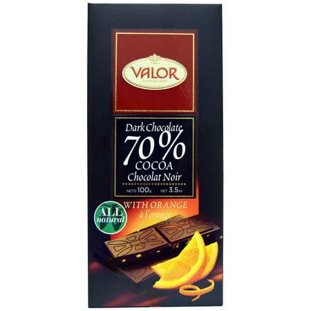 Valor, Dark Chcocolate, 70% Cocoa, With Orange, 3.5 oz(pack of 12)