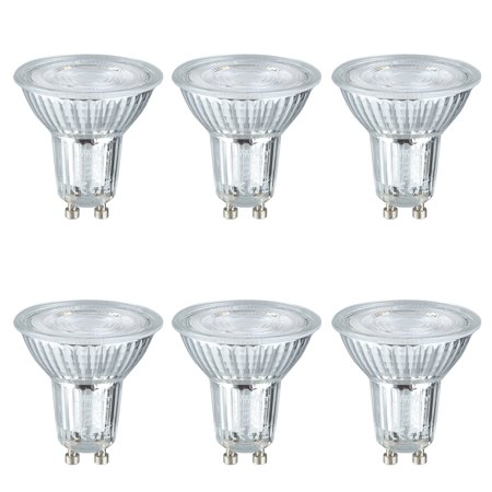 Lampwin 6 Pack LED Light Bulbs GU10 Base 5W AC 100-240V Spotlight 500 Lumen 6000K Daylight Spotlight 40 Degree Beam