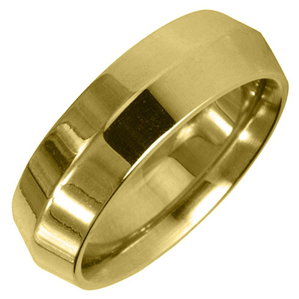 14K Yellow Gold Mens Wedding Band 6mm High Gloss Comfort Fit