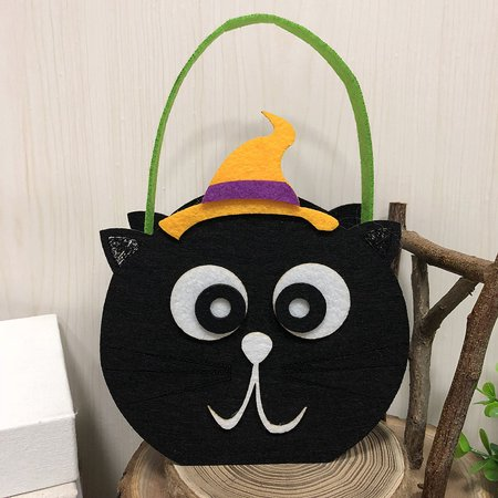 Halloween Non-Woven Candy Bag Trick or Treat Kids' Candy Bucket with Handle Halloween Party Costumes Supplies Decoration--Black Cat - Easy Halloween Classroom Treats