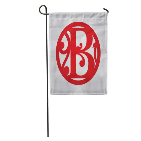 KDAGR Floral Single Letter Monogram B Personalized Initial Monogrammed Medallion Fancy Garden Flag Decorative Flag House Banner 12x18 inch