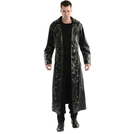 Adult Mens Steampunk Pirate Hook Captain Trench Coat Costume