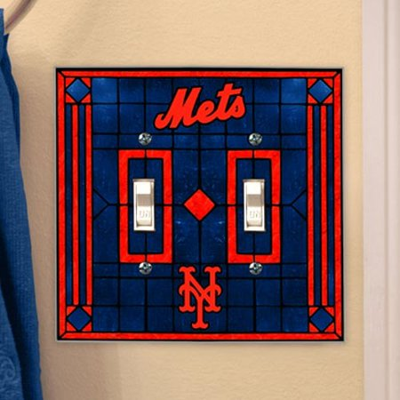 Baseball Clearance Outlet (New York Mets Royal Blue Art-Glass Double Switch Plate Cover - No)