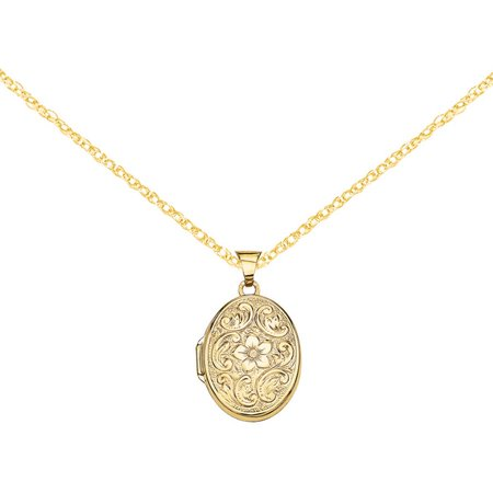 14kt Gold Scrolled Floral Locket