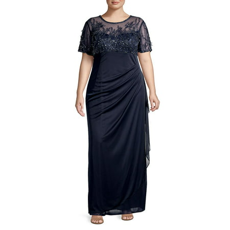 Plus Long Beaded Gown (Short Beaded Dress With Long Sheer Sleeves)