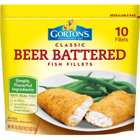 Gorton 39 s classic beer battered fish fillets 10 ct stand for Gortons fish sticks