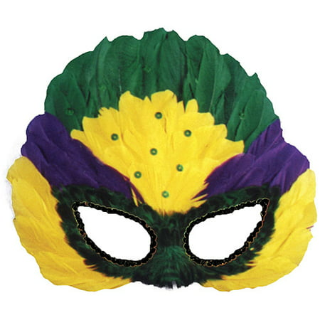 Sequin Feather Mardi Gras Mask Adult Accessory - Elaborate Mardi Gras Masks