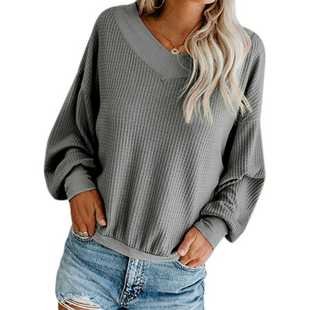 Sexy Dance Plus Size Women's Waffle Knit Pullover Tops V Neck Off Shoulder Blouse Ladies Batwing Sleeve Loose Casual Sweater Jumper 4 6 8 10 12 14 16 18 20 Waffle Knit Sweater